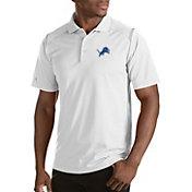 Antigua Men's Detroit Lions Merit White Xtra-Lite Polo