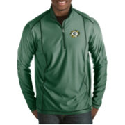 Antigua Men's Green Bay Packers Quick Snap Logo Tempo Green Quarter-Zip Pullover