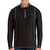 Antigua Men's Carolina Panthers Tempo Black Quarter-Zip Pullover