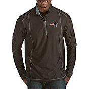 Antigua Men's New England Patriots Tempo Black Quarter-Zip Pullover