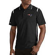 Antigua Men's New England Patriots Merit Black Xtra-Lite Polo