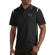 Antigua Men's New England Patriots Merit Black Xtra-Lite Polo