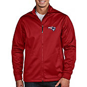 Antigua Men's New England Patriots Quick Snap Logo Red Golf Jacket