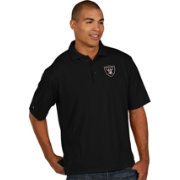 Antigua Men's Oakland Raiders Pique Xtra-Lite Black Polo