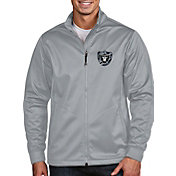Antigua Men's Oakland Raiders Quick Snap Logo Silver Golf Jacket