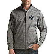 Antigua Men's Oakland Raiders Quick Snap Logo Black Heather Golf Jacket