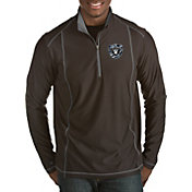 Antigua Men's Oakland Raiders Quick Snap Logo Tempo Black Quarter-Zip Pullover