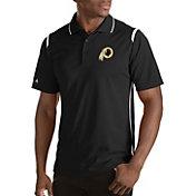 Antigua Men's Washington Redskins Merit Black Xtra-Lite Polo