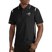 Antigua Men's Los Angeles Rams Merit Black Xtra-Lite Polo