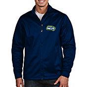 Antigua Men's Seattle Seahawks Quick Snap Logo Navy Golf Jacket