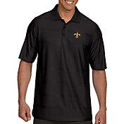 Antigua Men's New Orleans Saints Illusion Black Xtra-Lite Polo