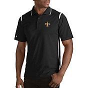 Antigua Men's New Orleans Saints Merit Black Xtra-Lite Polo