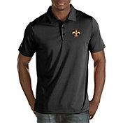 Antigua Men's New Orleans Saints Quest Black Polo
