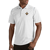 Antigua Men's New Orleans Saints Merit White Xtra-Lite Polo