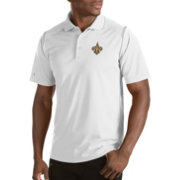 Antigua Men's New Orleans Saints Merit White Xtra-Lite Polo