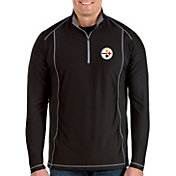 Antigua Men's Pittsburgh Steelers Tempo Black Quarter-Zip Pullover