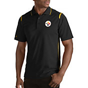 Antigua Men's Pittsburgh Steelers Merit Black Xtra-Lite Polo