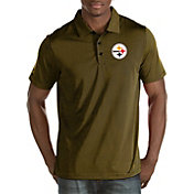 Antigua Men's Pittsburgh Steelers Quest Black Polo