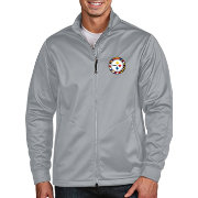 Antigua Men's Pittsburgh Steelers Quick Snap Logo Silver Golf Jacket