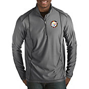 Antigua Men's Pittsburgh Steelers Quick Snap Logo Tempo Grey Quarter-Zip Pullover