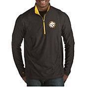 Antigua Men's Pittsburgh Steelers Quick Snap Logo Tempo Black Quarter-Zip Pullover