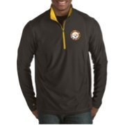 Antigua Men's Pittsburgh Steelers Quick Snap Logo Tempo Black Quarter-Zip Pullover