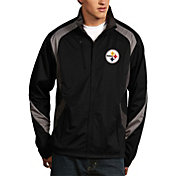 Antigua Men's Pittsburgh Steelers Tempest Black Full-Zip Jacket