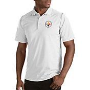 Antigua Men's Pittsburgh Steelers Merit White Xtra-Lite Polo