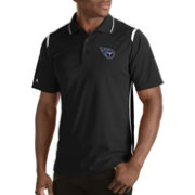 Antigua Men's Tennessee Titans Merit Black Xtra-Lite Polo