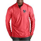 Antigua Men's Houston Texans Quick Snap Logo Tempo Red Quarter-Zip Pullover
