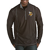 Antigua Men's Minnesota Vikings Tempo Black Quarter-Zip Pullover