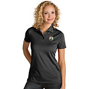 Antigua Women's Boston Celtics Xtra-Lite Black Quest Performance Polo