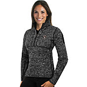 Antigua Women's Brooklyn Nets Fortune Black Half-Zip Pullover