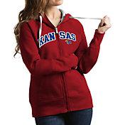 Antigua Women's Kansas Jayhawks Crimson Victory Full-Zip Hoodie