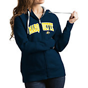 Antigua Women's Marquette Golden Eagles Blue Victory Full-Zip Hoodie