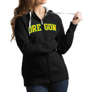 Antigua Women's Oregon Ducks Black Victory Full-Zip Hoodie