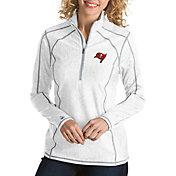 Antigua Women's Tampa Bay Buccaneers Tempo White Quarter-Zip Pullover