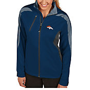Antigua Women's Denver Broncos Discover Full-Zip Navy Jacket