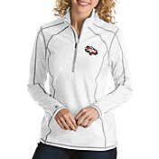 Antigua Women's Denver Broncos Quick Snap Logo Tempo White Quarter-Zip Pullover