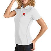 Antigua Women's Cleveland Browns Merit White Xtra-Lite Pique Polo