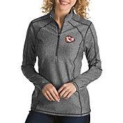 Antigua Women's Kansas City Chiefs Quick Snap Logo Tempo Grey Quarter-Zip Pullover