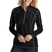 Antigua Women's Carolina Panthers Tempo Black Quarter-Zip Pullover