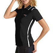 Antigua Women's New England Patriots Merit Black Xtra-Lite Pique Polo