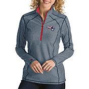 Antigua Women's New England Patriots Quick Snap Logo Tempo Navy Quarter-Zip Pullover