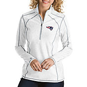 Antigua Women's New England Patriots Quick Snap Logo Tempo White Quarter-Zip Pullover