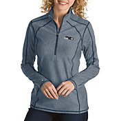 Antigua Women's Seattle Seahawks Tempo Navy Quarter-Zip Pullover