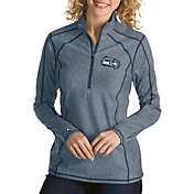Antigua Women's Seattle Seahawks Quick Snap Logo Tempo Navy Quarter-Zip Pullover