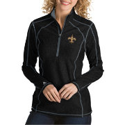 Antigua Women's New Orleans Saints Tempo Black Quarter-Zip Pullover