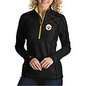 Antigua Women's Pittsburgh Steelers Tempo Black Quarter-Zip Pullover