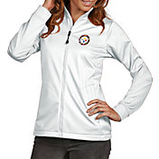 Antigua Women's Pittsburgh Steelers Quick Snap Logo White Golf Jacket
